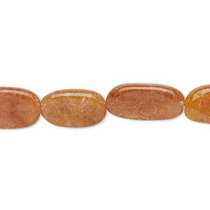 bead, red aventurine (natural), 10x8mm-17x10mm hand-cut flat oval, c grade, mohs hardness 7. sold per 12-inch strand.