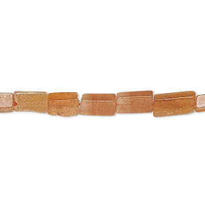 bead, red aventurine (natural), 6x3mm-12x5mm hand-cut square tube, d grade, mohs hardness 7. sold per 13-inch strand.