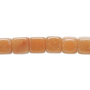 bead, red aventurine (natural), 8x8mm-9x8mm cube, c grade, mohs hardness 7. sold per 15-inch strand.