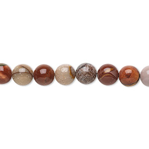 bead, red creek jasper (stabilized), 6mm round, b grade, mohs hardness 6-1/2 to 7. sold per 16-inch strand.