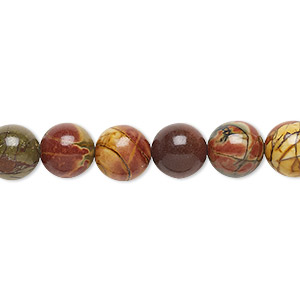 bead, red creek jasper (stabilized), 8mm round, b grade, mohs hardness 6-1/2 to 7. sold per 16-inch strand.