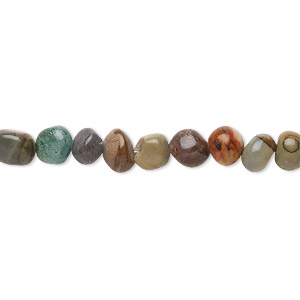 bead, red creek jasper (stabilized), small pebble, mohs hardness 6-1/2 to 7. sold per 16-inch strand.