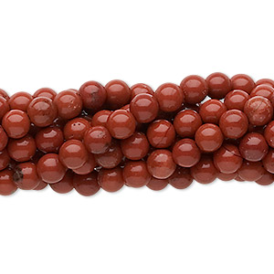 bead, red jasper (natural), 4mm round, c grade, mohs hardness 6-1/2 to 7. sold per pkg of (10) 16-inch strands.
