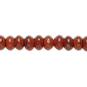 bead, red jasper (natural), 8x5mm rondelle, b grade, mohs hardness 6-1/2 to 7. sold per 16-inch strand.