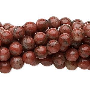 bead, red sesame jasper (natural), 6mm round, c grade, mohs hardness 6-1/2 to 7. sold per pkg of (10) 16-inch strands.