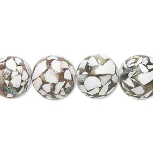 bead, resin and magnesite (assembled), khaki, 12-13mm round, c grade. sold per 15-inch strand.