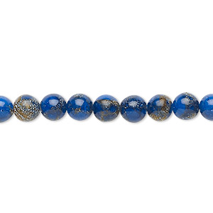 bead, resin and multi-stone (dyed / assembled), lapis blue and brown, 6mm round. sold per 8-inch strand, approximately 30 beads.