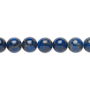 bead, resin and multi-stone (dyed / assembled), lapis blue and brown, 8mm round. sold per 8-inch strand, approximately 25 beads.