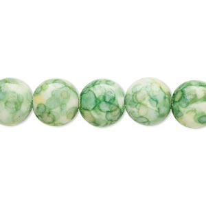 bead, resin and painted ceramic, green / white / yellow, 10mm puffed flat round. sold per 16-inch strand.