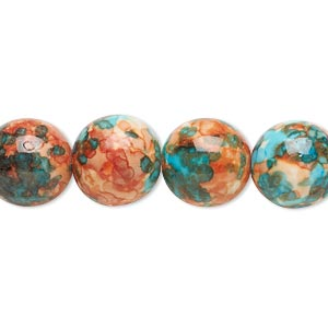 bead, resin and painted ceramic, orange / blue / white, 12mm round. sold per 16-inch strand.