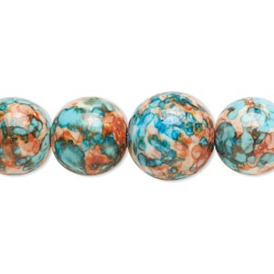 bead, resin and painted ceramic, orange / blue / white, 6-14mm graduated round. sold per 16-inch strand.