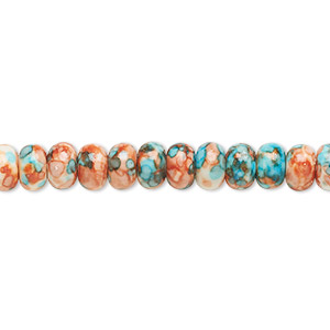 bead, resin and painted ceramic, orange / blue / white, 6x4mm rondelle. sold per 16-inch strand.