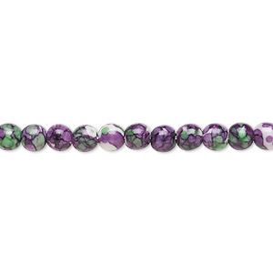 bead, resin and painted ceramic, purple / green / white, 4mm round. sold per 16-inch strand.