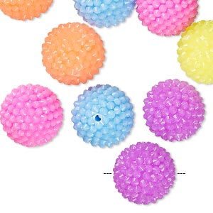 bead, resin, assorted colors, 13mm bumpy round. sold per pkg of 10.