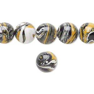 bead, resin, black / white / dark yellow, 10mm round. sold per 16-inch strand.