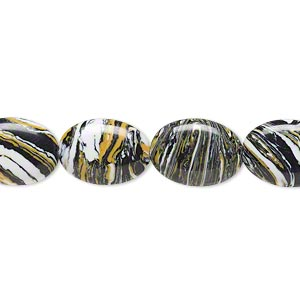 bead, resin, black / white / dark yellow, 14x10mm flat oval. sold per 16-inch strand.