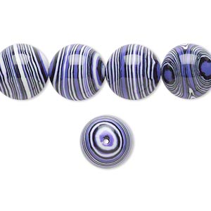 bead, resin, black / white / purple, 12mm round. sold per 16-inch strand.