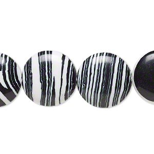 bead, resin, black and white, 16mm flat round. sold per 16-inch strand.