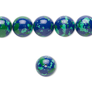 bead, resin, dark blue / green / turquoise blue, 10mm round. sold per 16-inch strand.