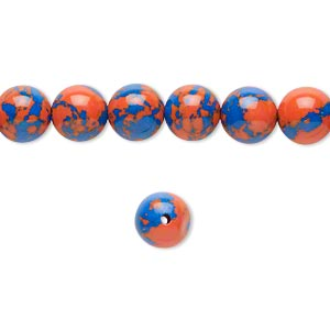 bead, resin, dark blue and orange, 8mm round. sold per 16-inch strand.