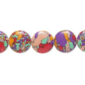 bead, resin, multicolored, 12mm flat round with mosaic design. sold per 16-inch strand.