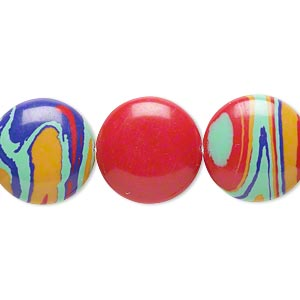 bead, resin, multicolored, 16mm flat round with swirls. sold per 16-inch strand.