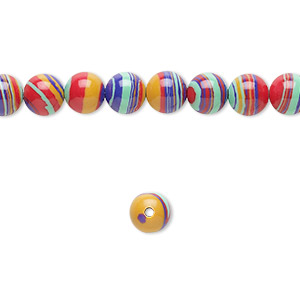 bead, resin, multicolored, 6mm round with swirls. sold per 16-inch strand.