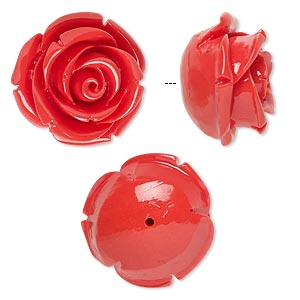 bead, resin, red, 19x19mm half-drilled rose. sold per pkg of 2.