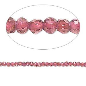 bead, rhodolite garnet (dyed), 2-3mm hand-cut faceted round, b- grade, mohs hardness 7 to 7-1/2. sold per 16-inch strand.