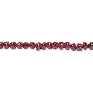 bead, rhodolite garnet (dyed), 3-4mm hand-cut uneven round, c grade, mohs hardness 7 to 7-1/2. sold per 13-inch strand.