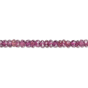 bead, rhodolite garnet (dyed), 4x2mm-4.5x3mm hand-cut faceted rondelle, b grade, mohs hardness 7 to 7-1/2. sold per 16-inch strand.