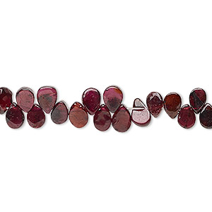 bead, rhodolite garnet (dyed), 5x4mm-8x7mm hand-cut top-drilled flat teardrop, c grade, mohs hardness 7 to 7-1/2. sold per 6-inch strand.