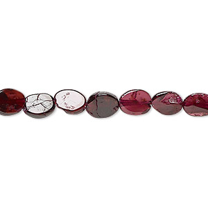 bead, rhodolite garnet (dyed), 7x5mm-8x7mm hand-cut flat oval, c+ grade, mohs hardness 7 to 7-1/2. sold per 13-inch strand.