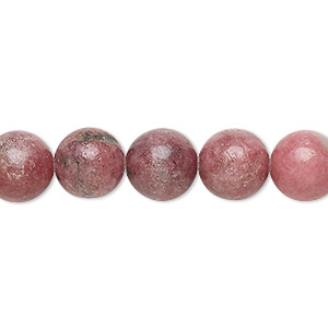 bead, rhodonite (natural), 10mm round, c grade, mohs hardness 5-1/2 to 6-1/2. sold per 15-inch strand.