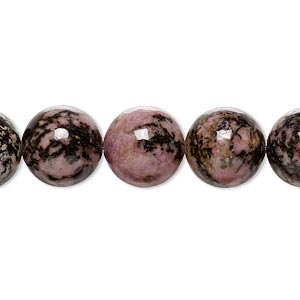 bead, rhodonite (natural), 12mm round, b grade, mohs hardness 5-1/2 to 6-1/2. sold per 16-inch strand.