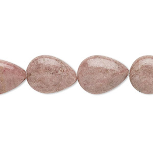 bead, rhodonite (natural), 16x12mm puffed teardrop, d grade, mohs hardness 5-1/2 to 6-1/2. sold per 16-inch strand.