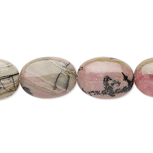 bead, rhodonite (natural), 18x13mm puffed oval, d grade, mohs hardness 5-1/2 to 6-1/2. sold per 15-inch strand.