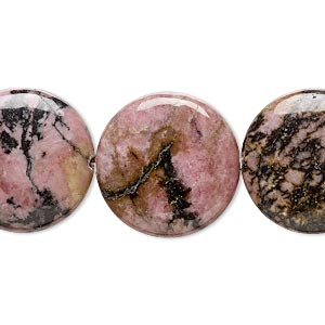 bead, rhodonite (natural), 20mm puffed flat round, b grade, mohs hardness 5-1/2 to 6-1/2. sold per 16-inch strand.