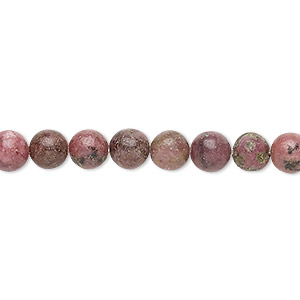bead, rhodonite (natural), 5-6mm round, d grade, mohs hardness 5-1/2 to 6-1/2. sold per 15-inch strand.