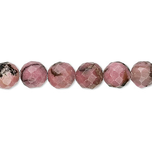 bead, rhodonite (natural), 8mm faceted round, b grade, mohs hardness 5-1/2 to 6-1/2. sold per 16-inch strand.
