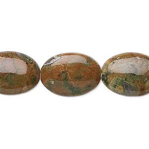bead, rhyolite (natural), 18x13mm flat oval, b+ grade, mohs hardness 6 to 6-1/2. sold per 16-inch strand.