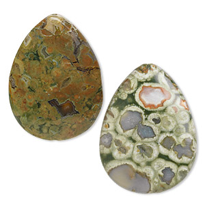 bead, rhyolite (natural), light and dark, 40x30mm flat teardrop, b grade, mohs hardness 6-1/2 to 7. sold per pkg of 2.