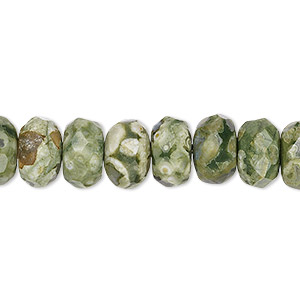 bead, rhyolite (natural), light to dark, 10x6mm faceted rondelle, b grade, mohs hardness 6 to 6-1/2. sold per 16-inch strand.