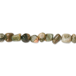 bead, rhyolite (natural), small hand-cut pebble, mohs hardness 6-1/2 to 7. sold per 16-inch strand.