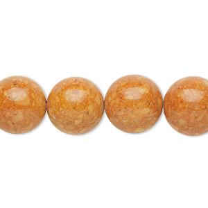 bead, riverstone (dyed), brown, 12mm round, b grade, mohs hardness 3-1/2. sold per 16-inch strand.