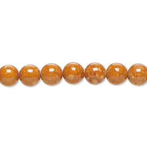 bead, riverstone (dyed), brown, 6mm round, b grade, mohs hardness 3-1/2. sold per pkg of (2) 16-inch strands.