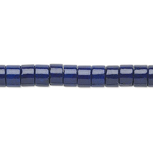 bead, riverstone (dyed), dark blue, 6x4mm rondelle, b grade, mohs hardness 3-1/2. sold per 16-inch strand.