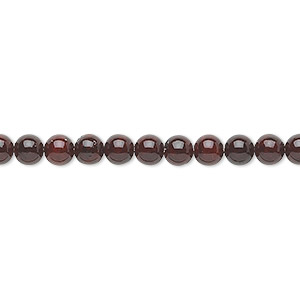 bead, riverstone (dyed), dark red, 4mm round, b grade, mohs hardness 3-1/2. sold per pkg of (2) 16-inch strands.