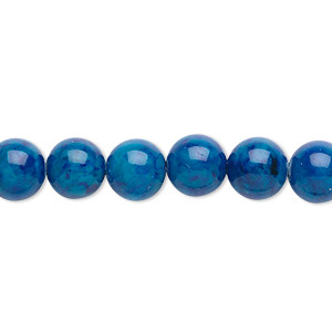 bead, riverstone (dyed), light blue, 8mm round, b grade, mohs hardness 3-1/2. sold per pkg of (2) 16-inch strands.