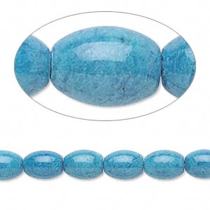 bead, riverstone (dyed), light blue, 8x6mm oval, b grade, mohs hardness 3-1/2. sold per 16-inch strand.